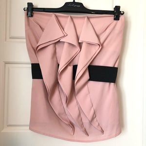 FOREVER21 Strapless Pink Belted Top